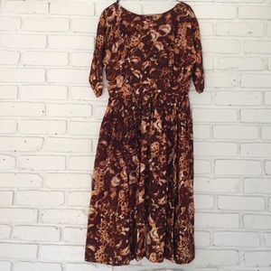 1950's Brown Roses Dress